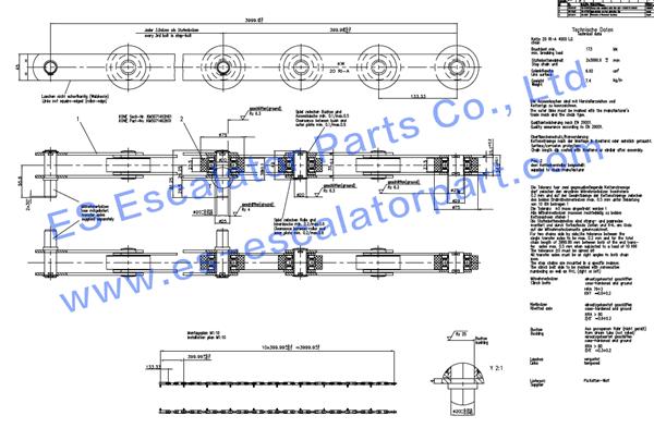 KONE Step chain KM5071474G01-CHAIN 20RI-A 4000LG 2STR