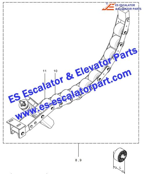 otis escalator 513NPE GAA332AB1 handrail tension roller chain (10 rollers)