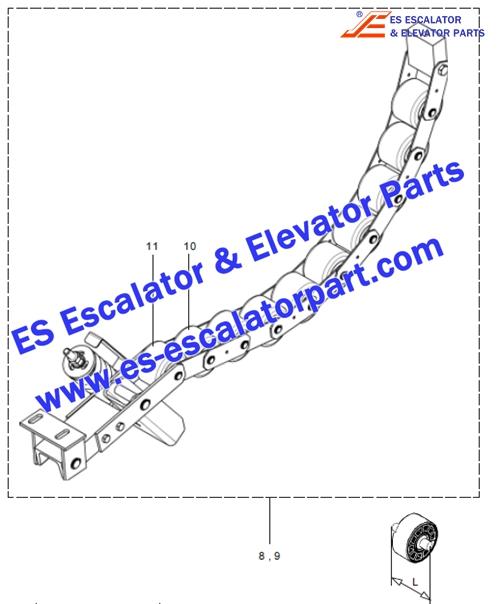 otis escalator 513NPE GAA332AB2 handrail tension roller chain (10 rollers)