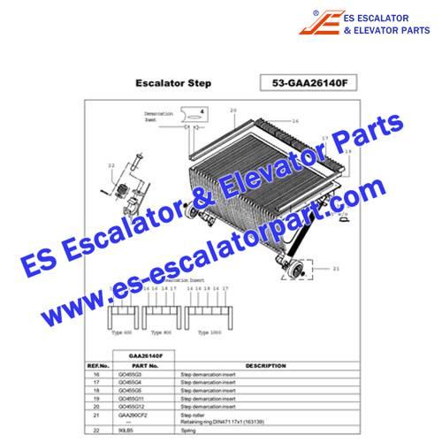 OTIS GO455G1/GO455G3/GO455G4/GO455G5/GO455G11/GO455G12 STEP DEMARCATION